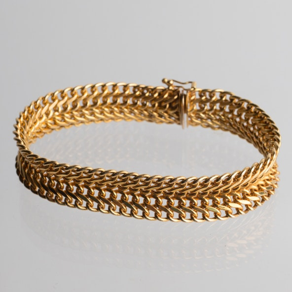 14K Yellow Gold Woven Bracelet