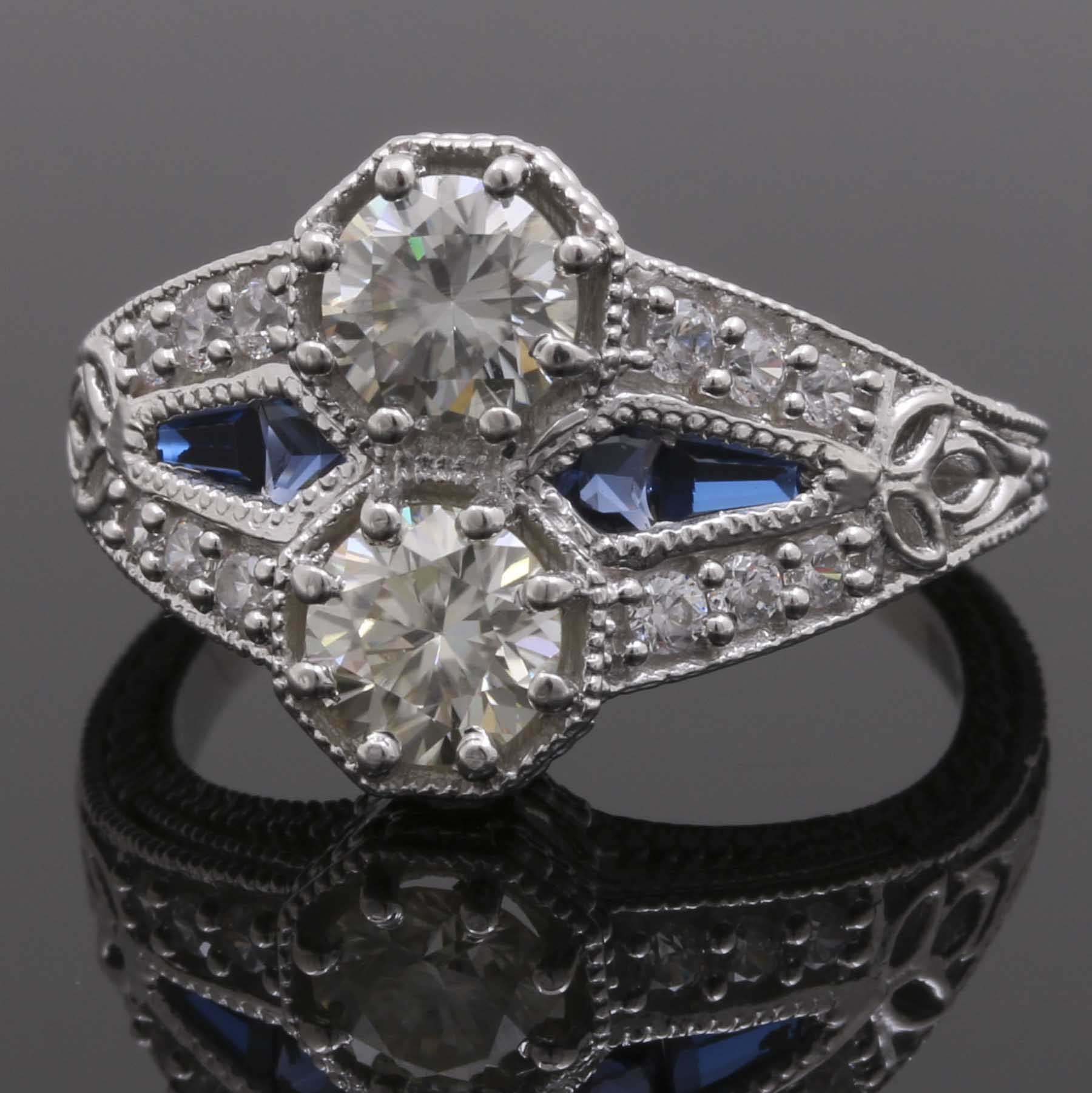 Sterling Silver Moissanite, Cubic Zirconia and Synthetic Blue Spinel Ring
