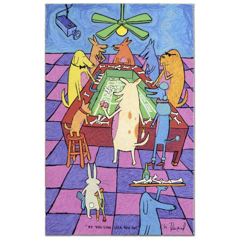 """Matt Rinard Limited Edition Hand Pulled Lithograph """"My Dog Gone Luck Ran Out"""""""