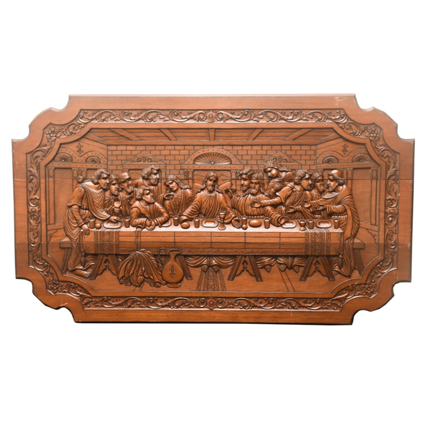 Big Wooden Wall Decor : Large wooden wall decor of the last supper ebth