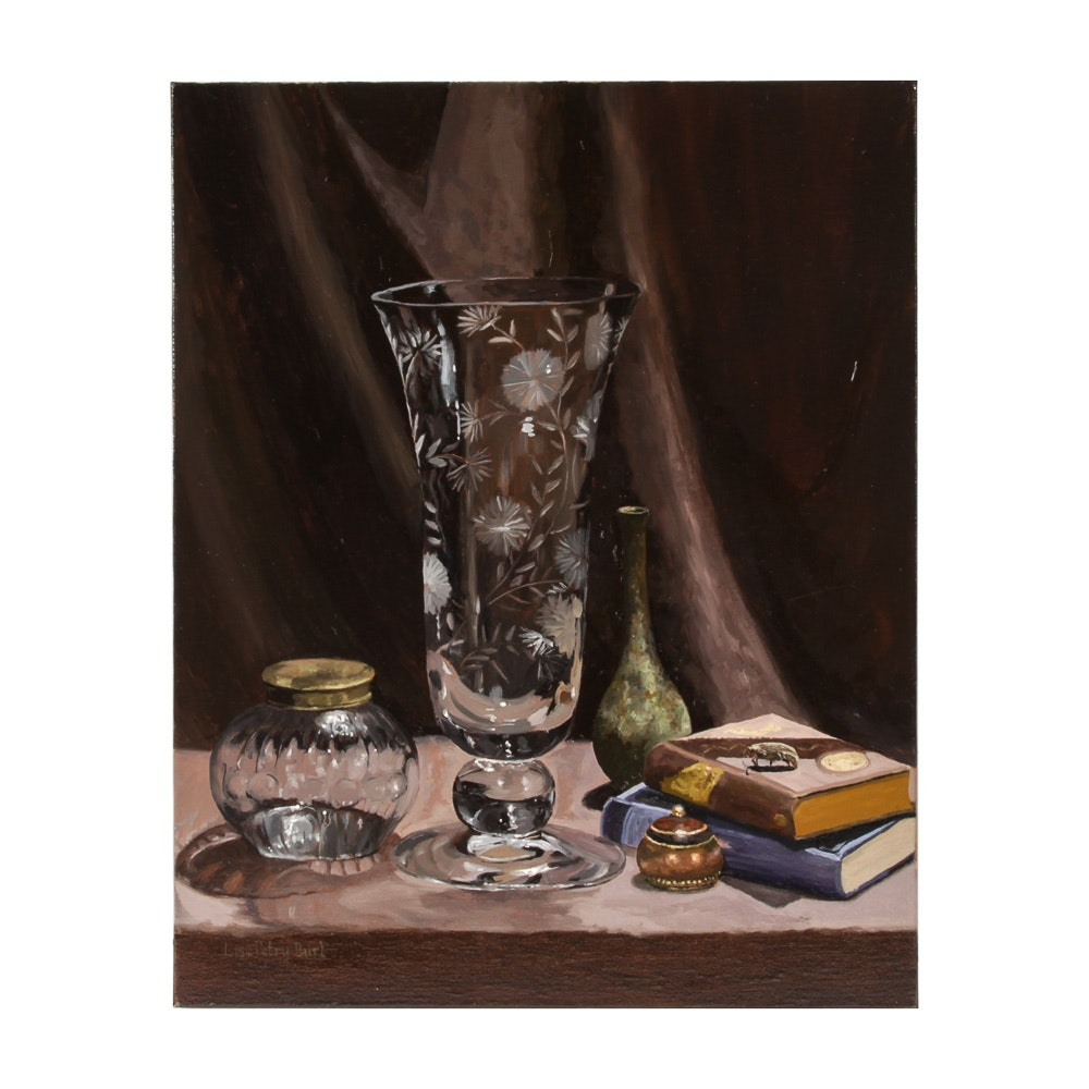 "Lisa Petry-Burt Oil on Canvas ""Still Life with Vase"""