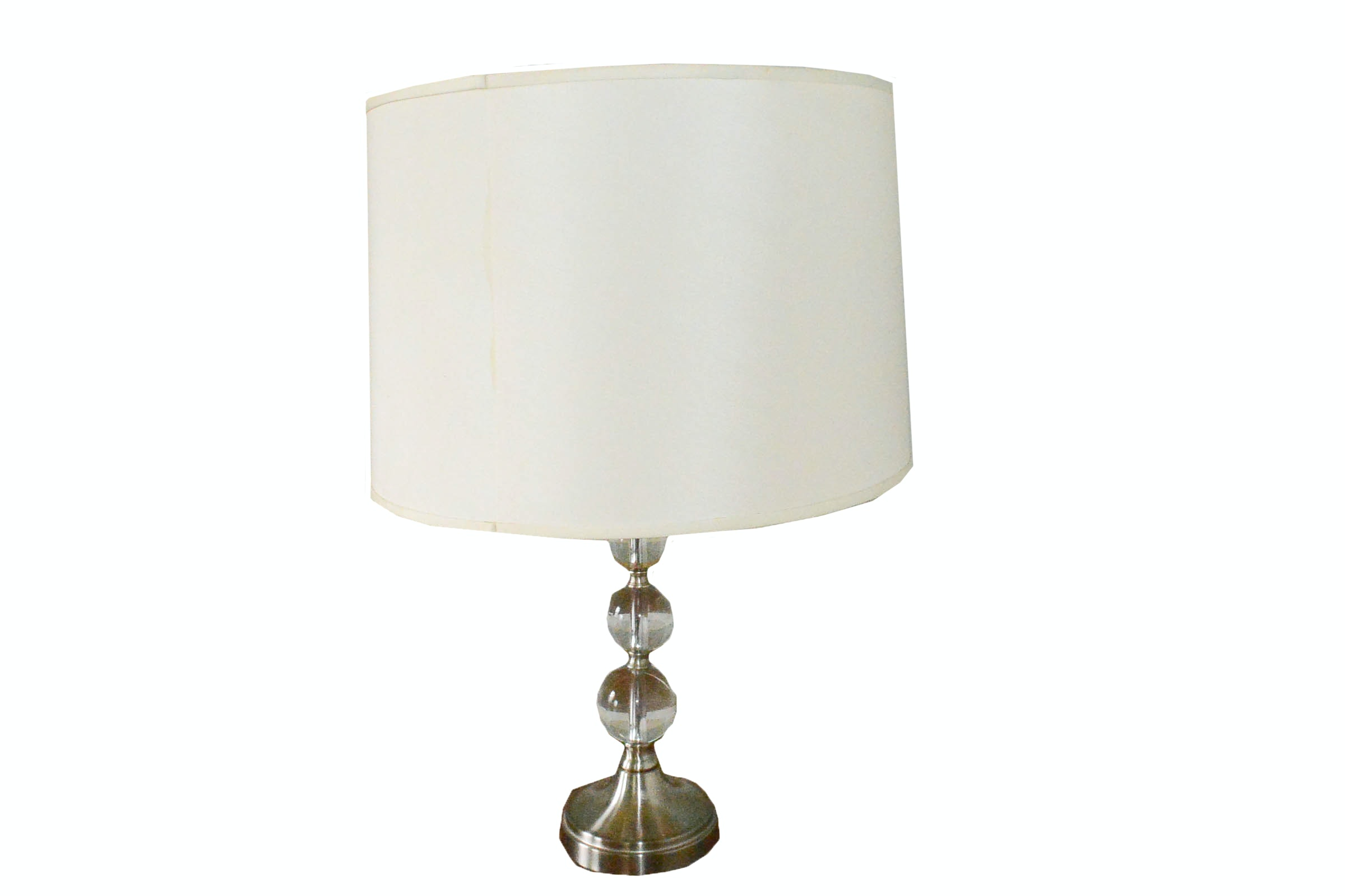 Gray Steel Orb Table Lamp And White Shade ...
