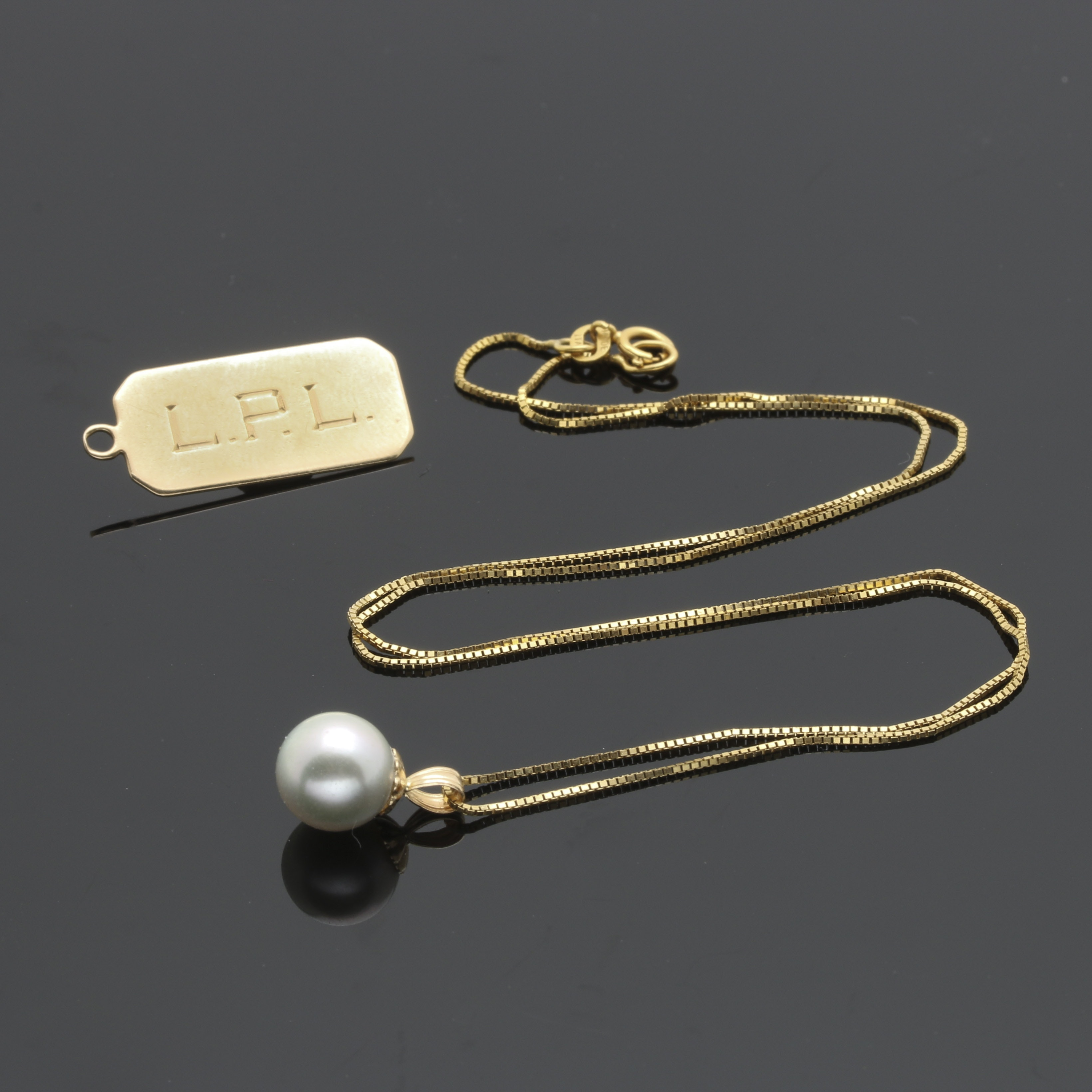 14K Yellow Gold Peal Necklace and 14K Gold Tag