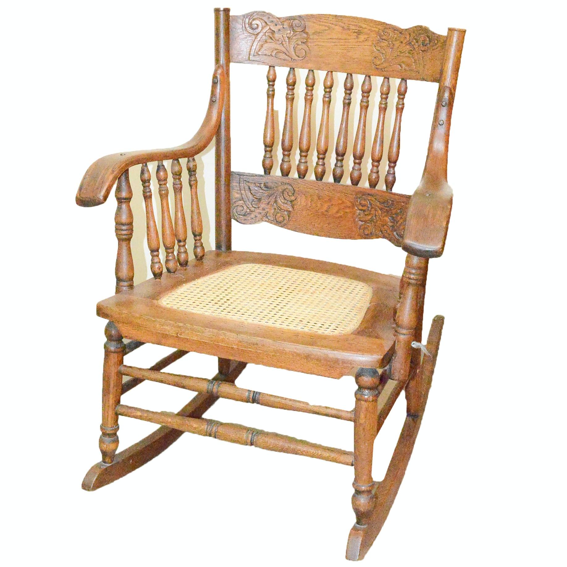 Victorian Style Oak Rocking Chair