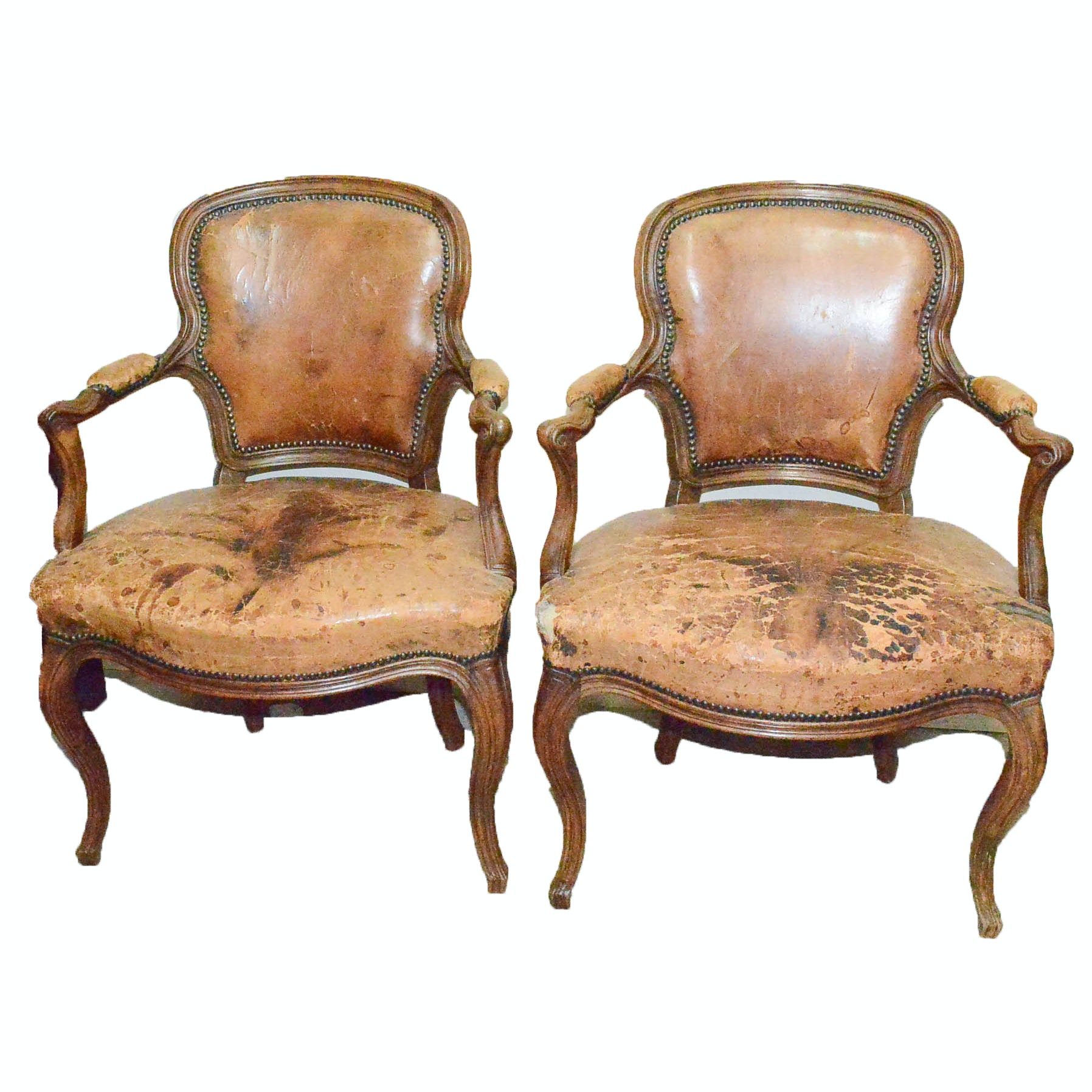 Pair of Antique Louis XVI Style Leather Bergere Chairs