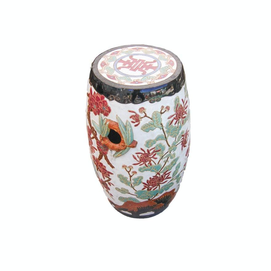 Chinese Style Ceramic Barrel Garden Stool