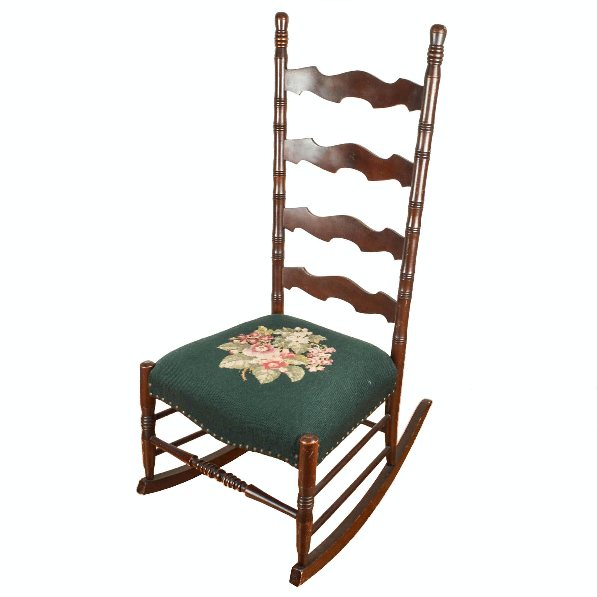 Ladder-Back Rocking Chair With Needlepoint Seat