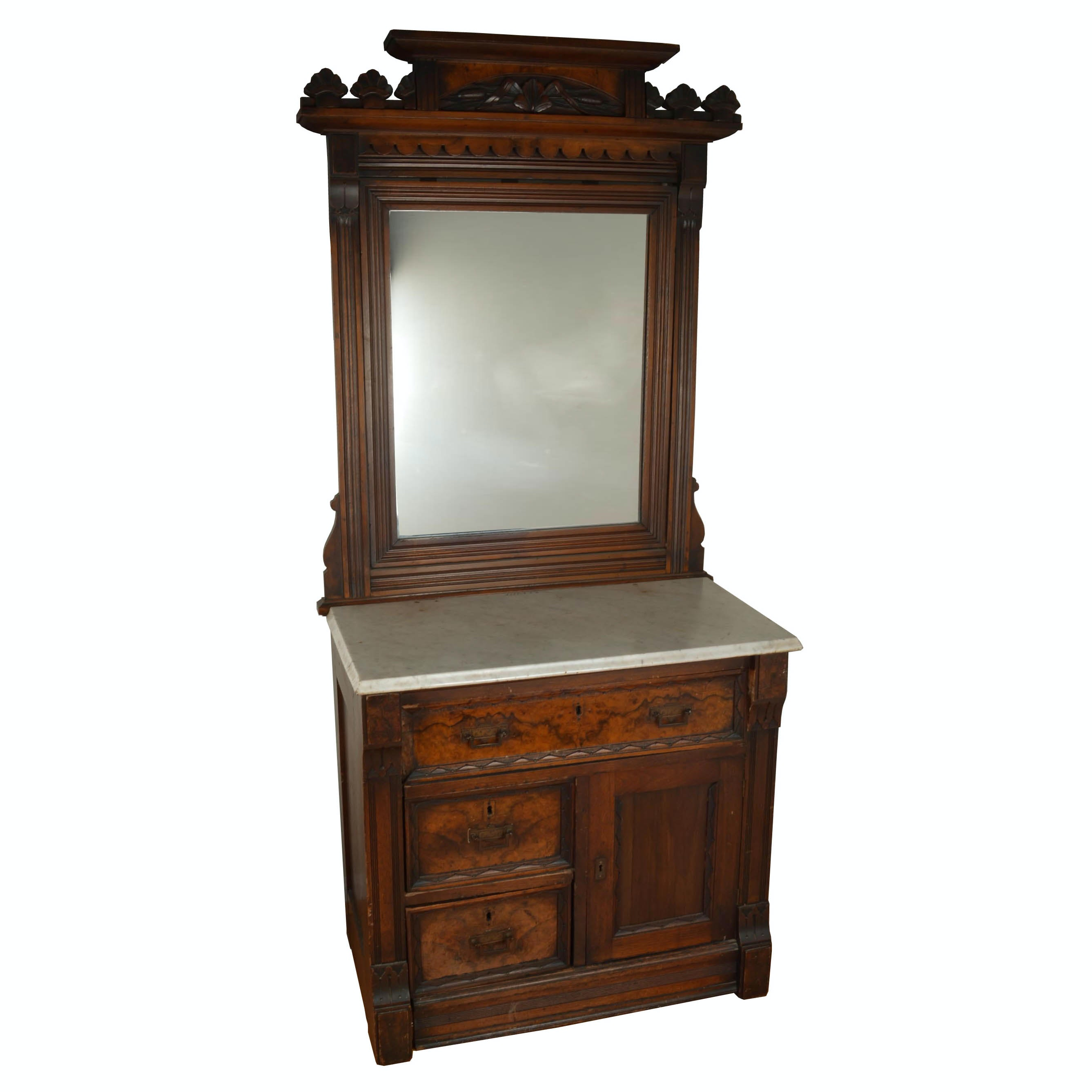 Antique Eastlake Washstand With Mirror
