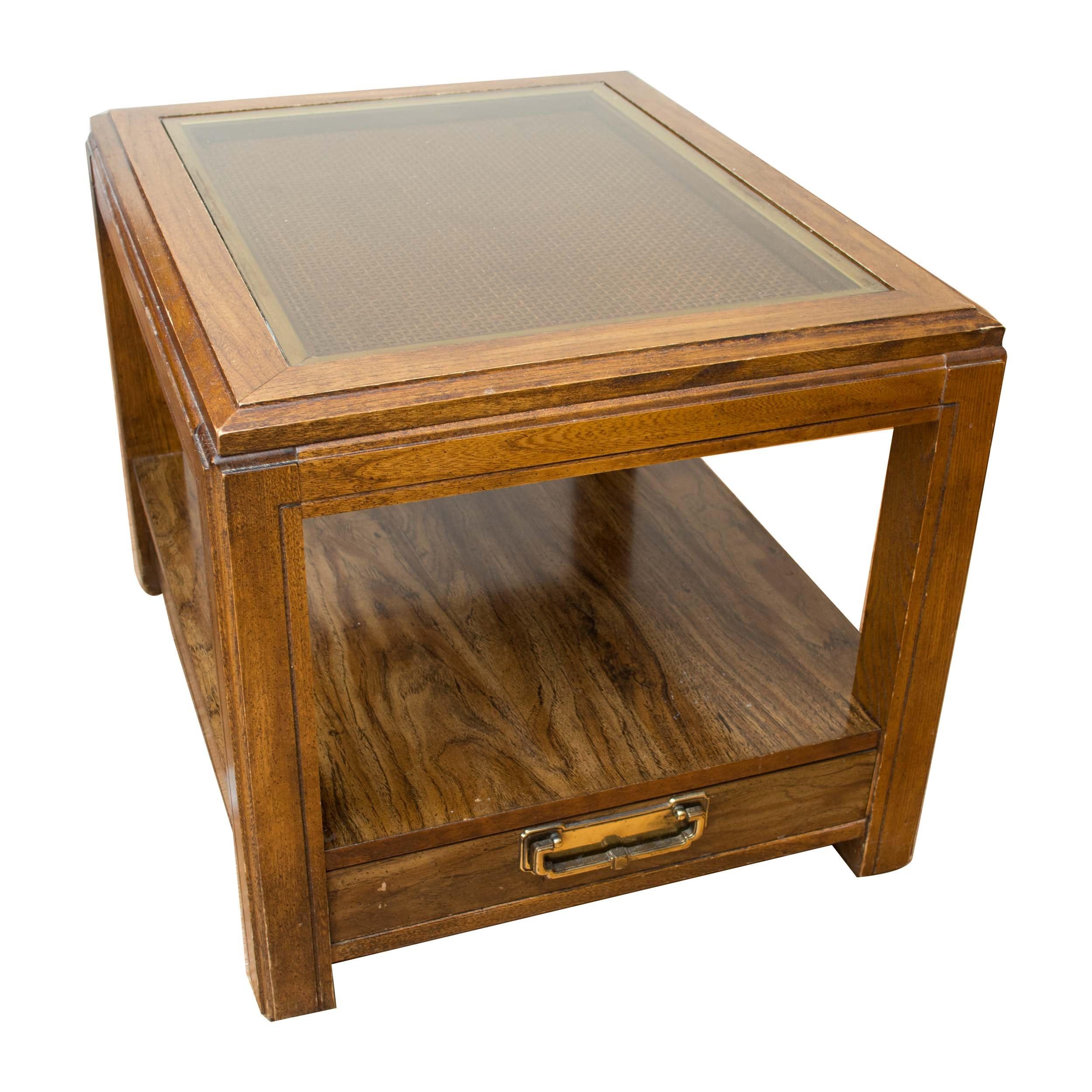 Oak and Glass Side Table by Bassett