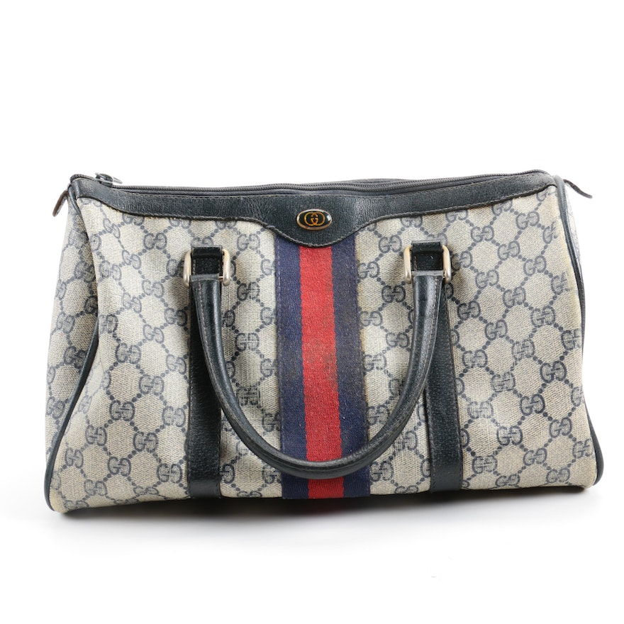 b3c279837a4c Vintage Gucci Supreme Canvas Boston Handbag   EBTH