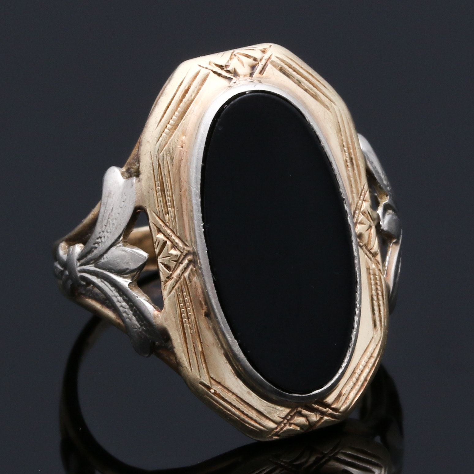 10K Two Tone Gold Black Onyx Ring