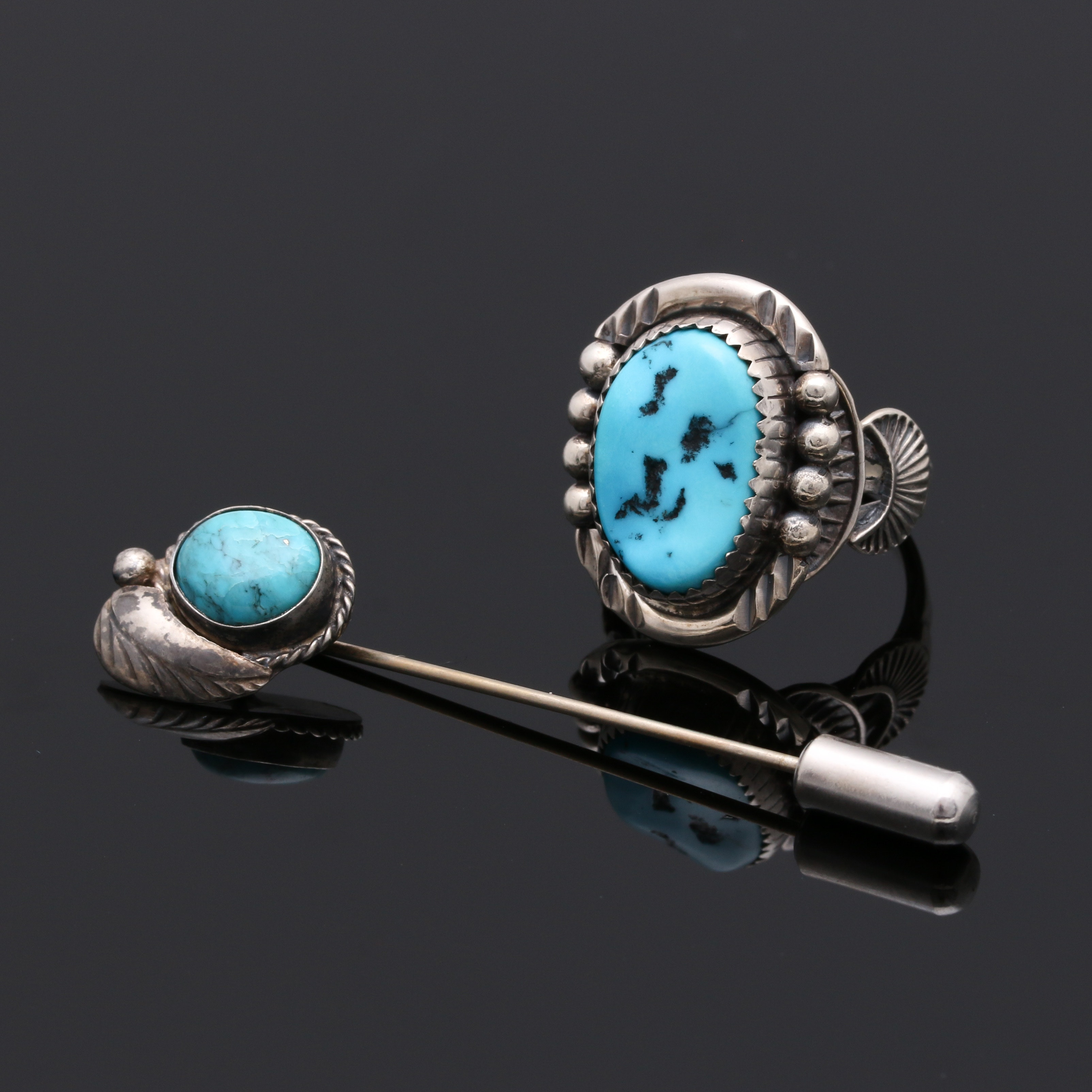 Navajo Style Sterling Silver Turquoise Ring and Stickpin
