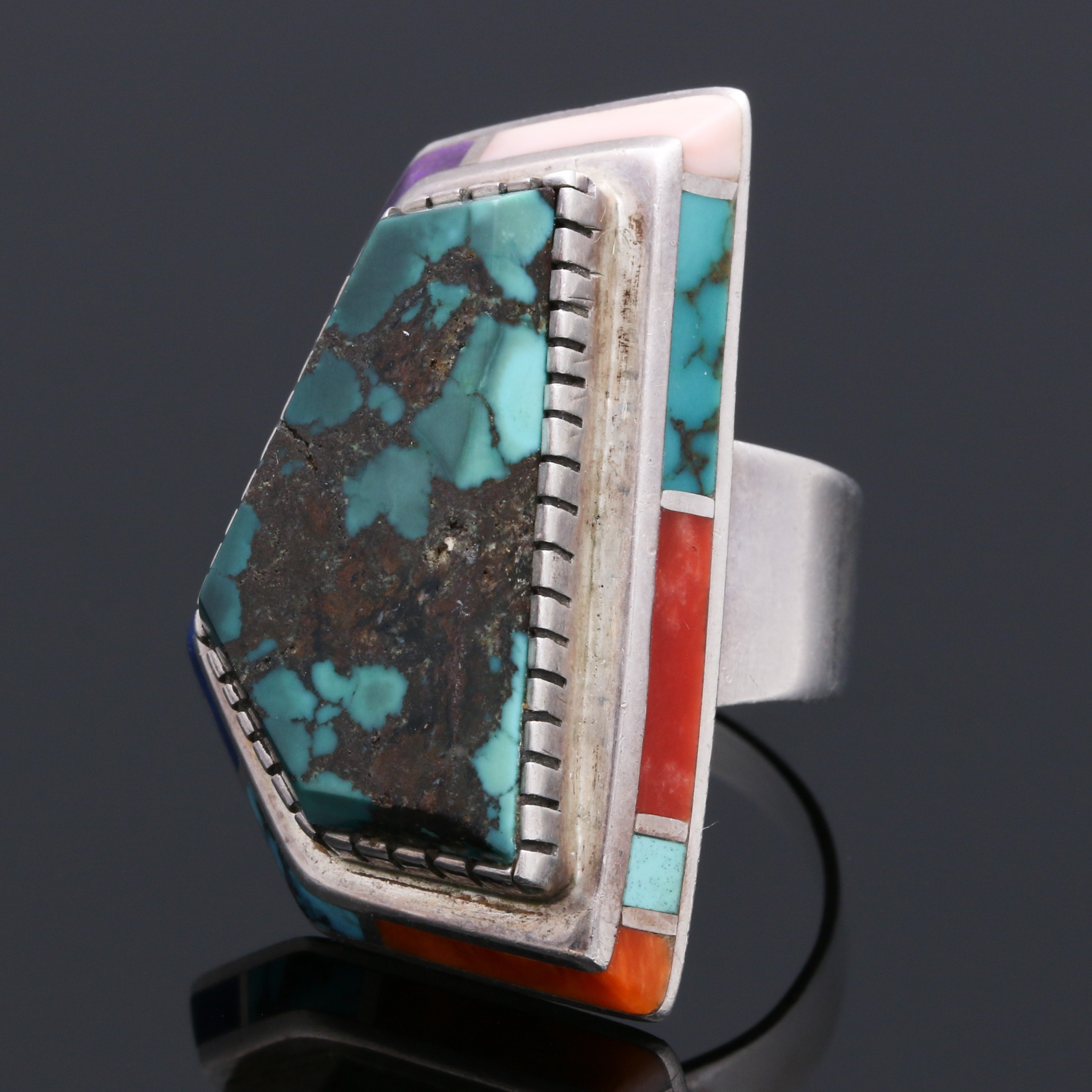 Louise Clark Sterling Silver Mutli-Gemstone Channel Inlay Navajo Ring
