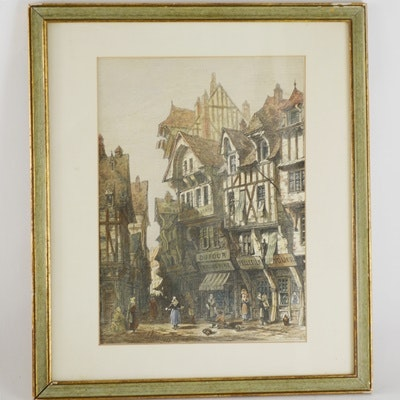 S. Read French Lithograph of 1872 Rouen