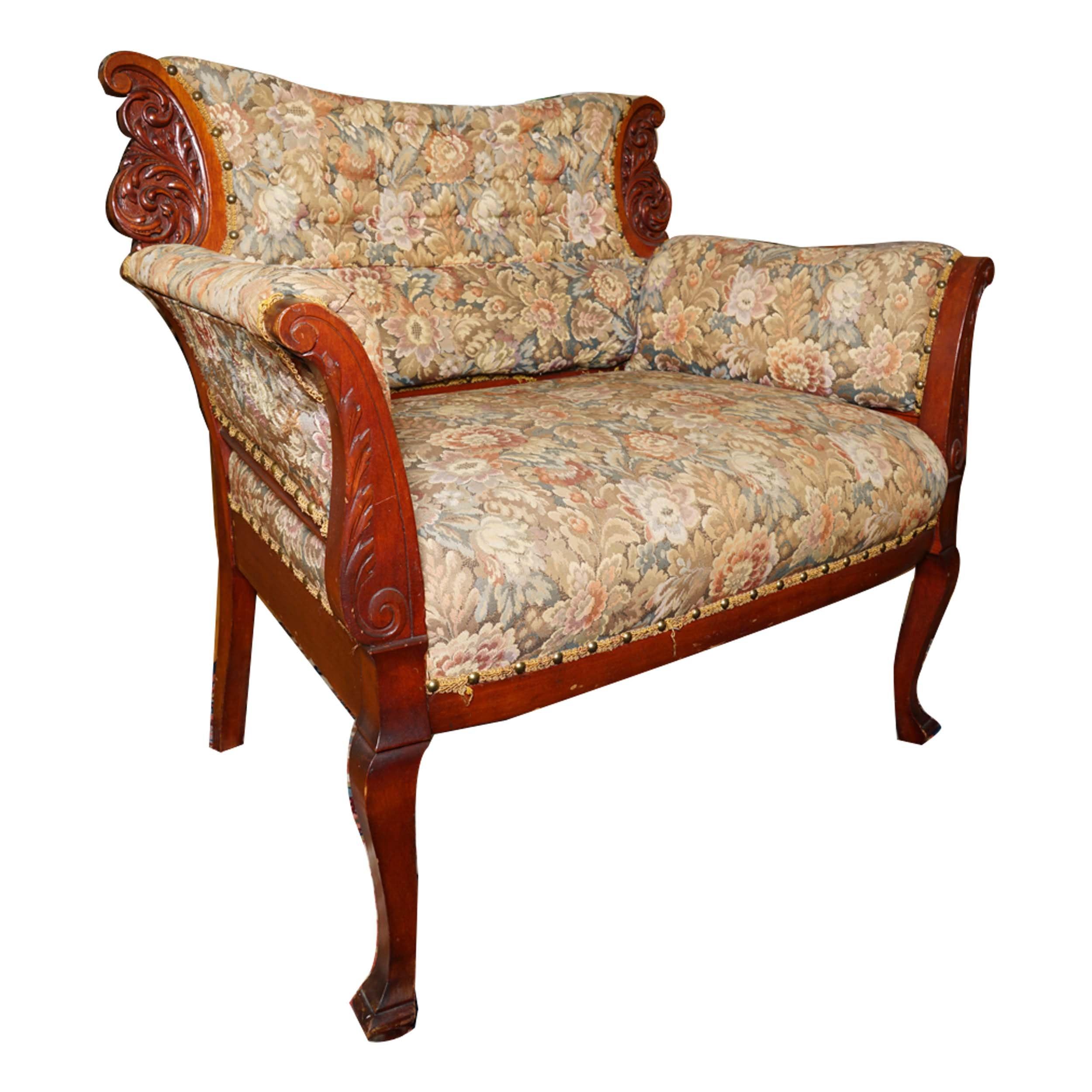 Vintage Georgian Revival Style Carved Arm Chair