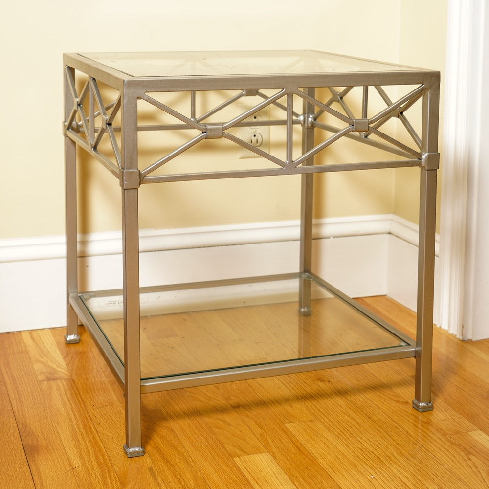 Contemporary Metal and Glass Side Table
