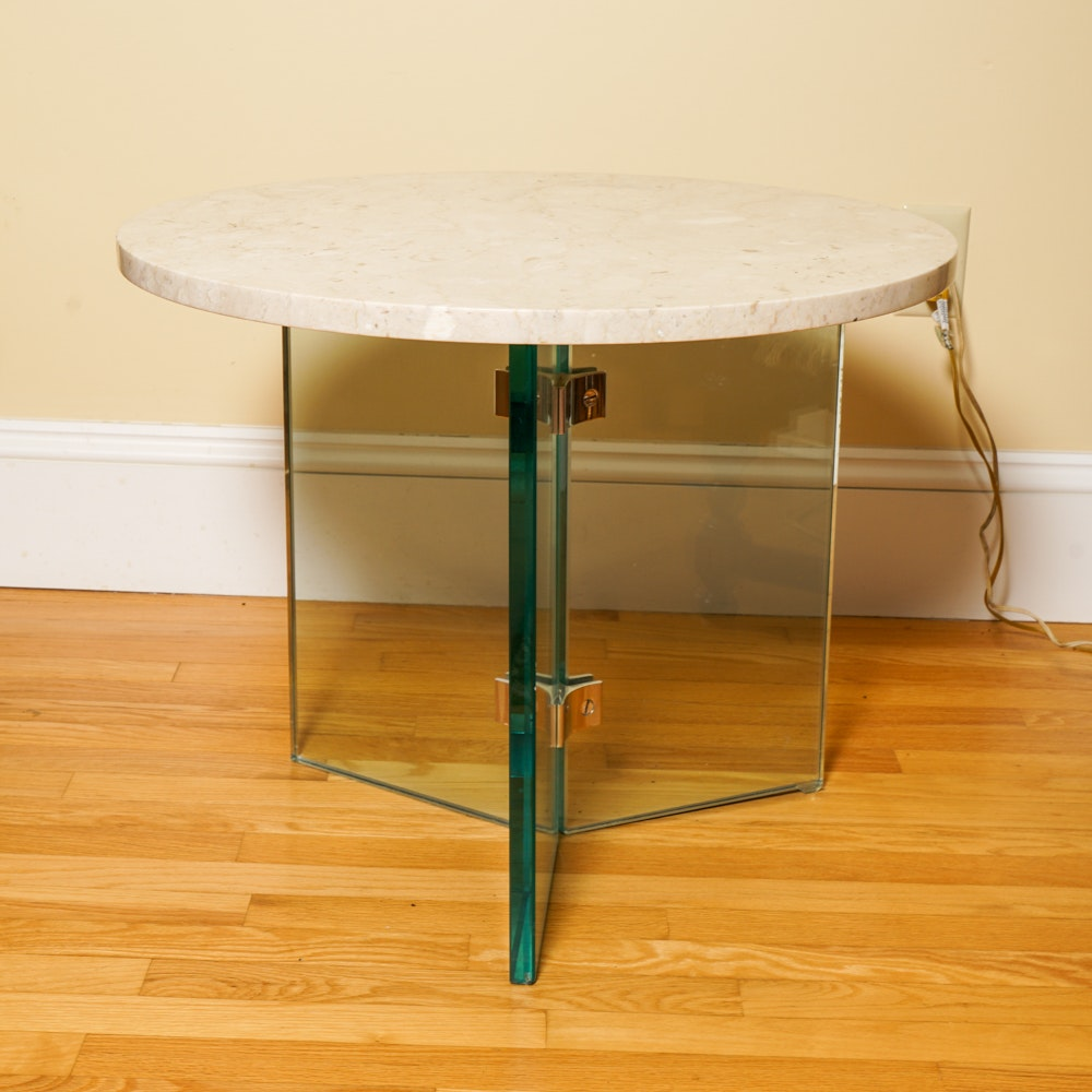 Travertine Top Table With Glass Frame