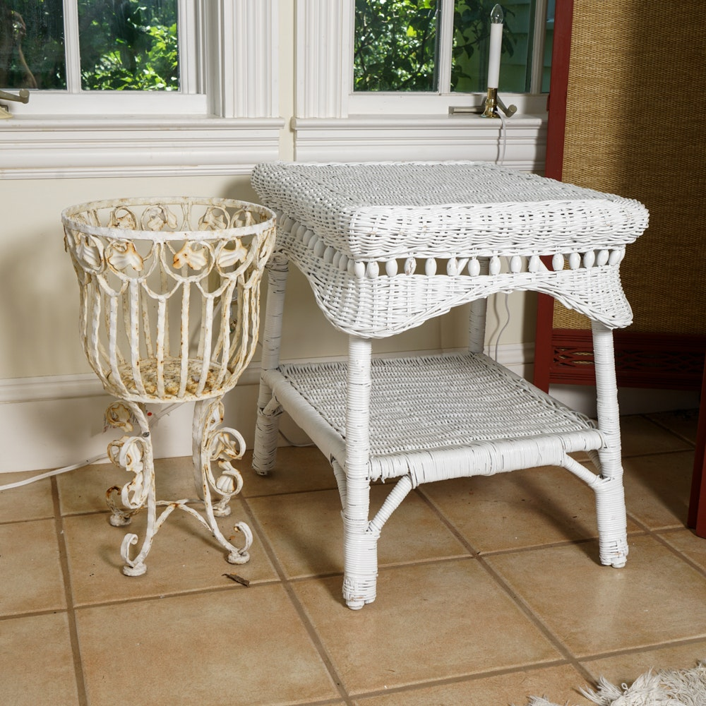 Wicker Side Table and Iron Planter