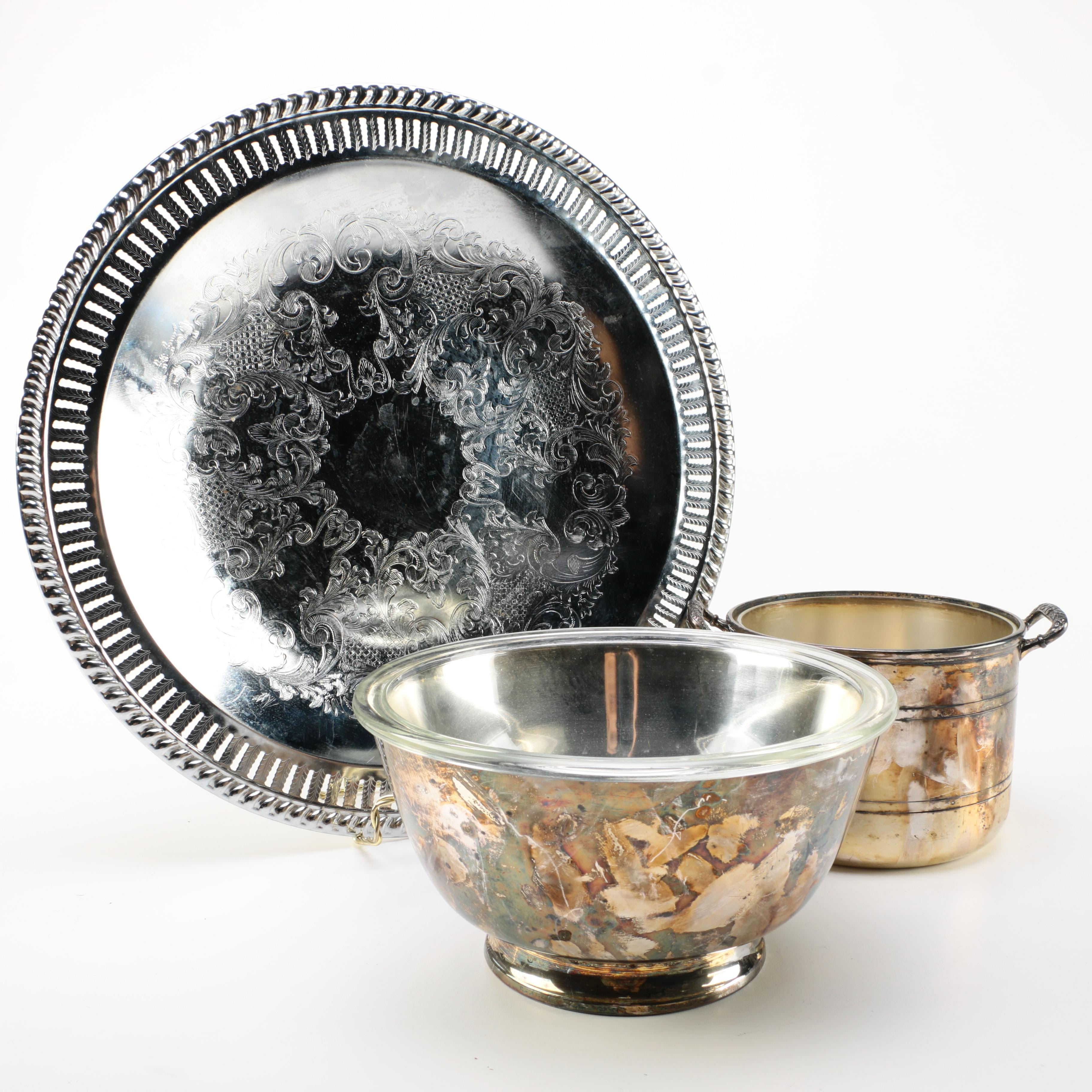 Silver Plate Bowls and Metal Serving Tray Featuring Reed & Barton