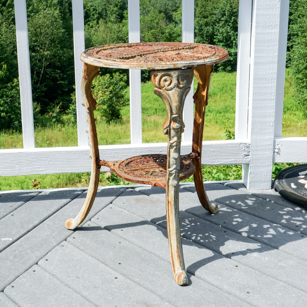 Vintage Outdoor Cast Iron Accent Table