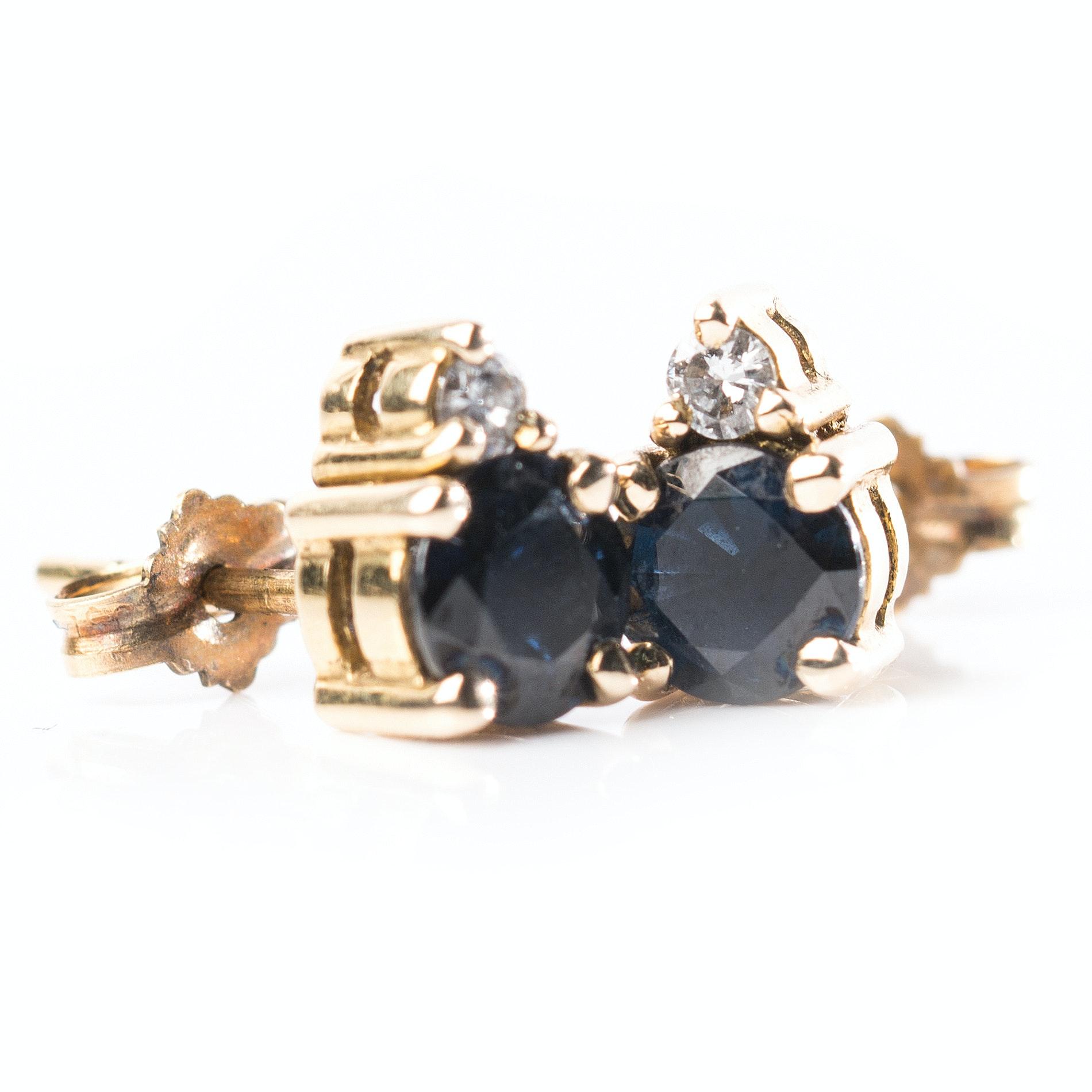 18K Yellow Gold 1.44 CTW Sapphire and Diamond Earrings