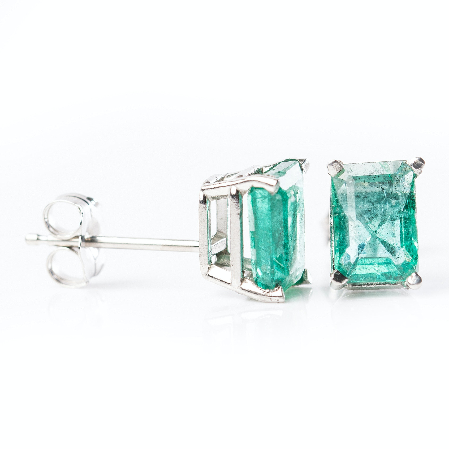 Platinum and 1.50 CTW Emerald Earrings