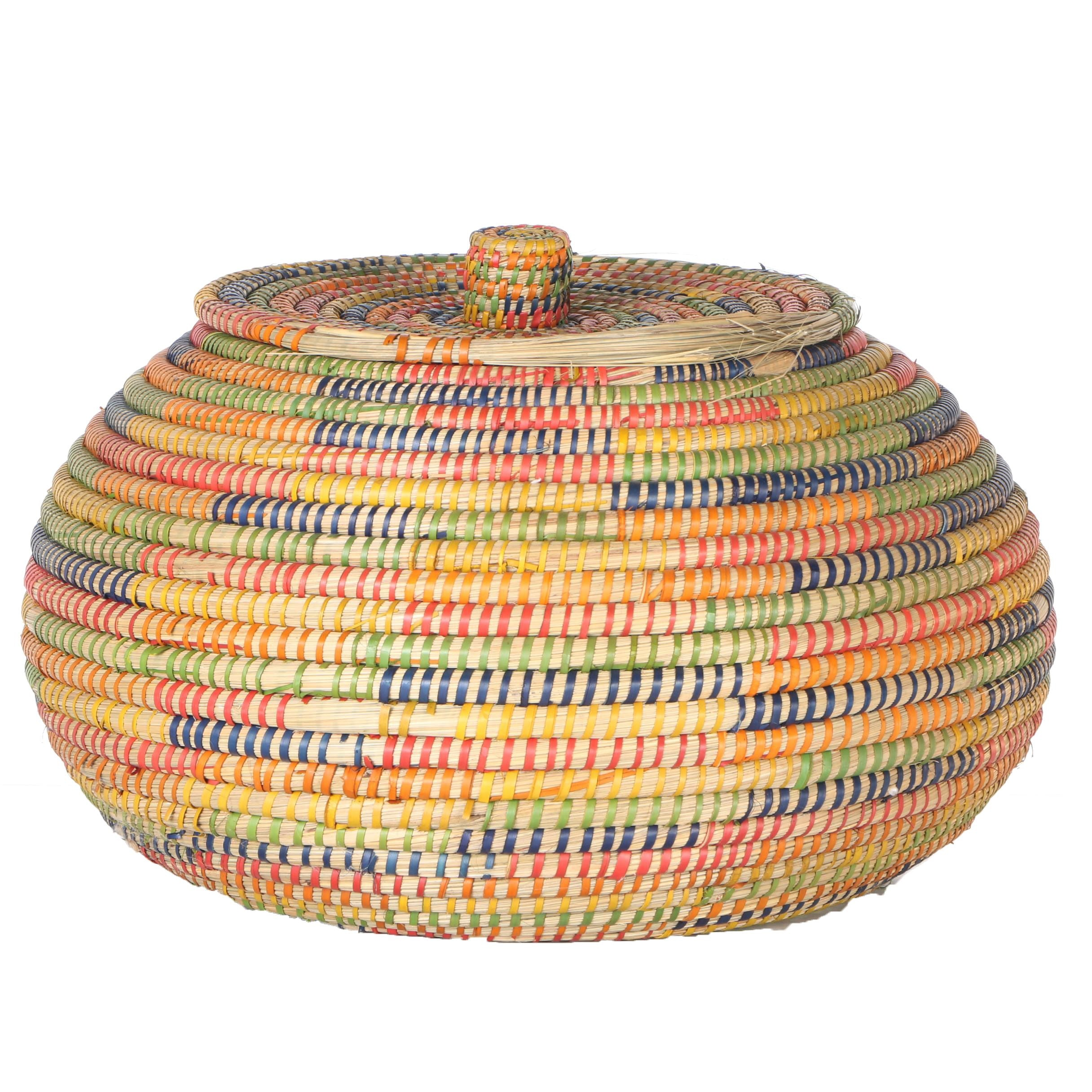 Primary and Secondary Color Stripe Wicker Basket