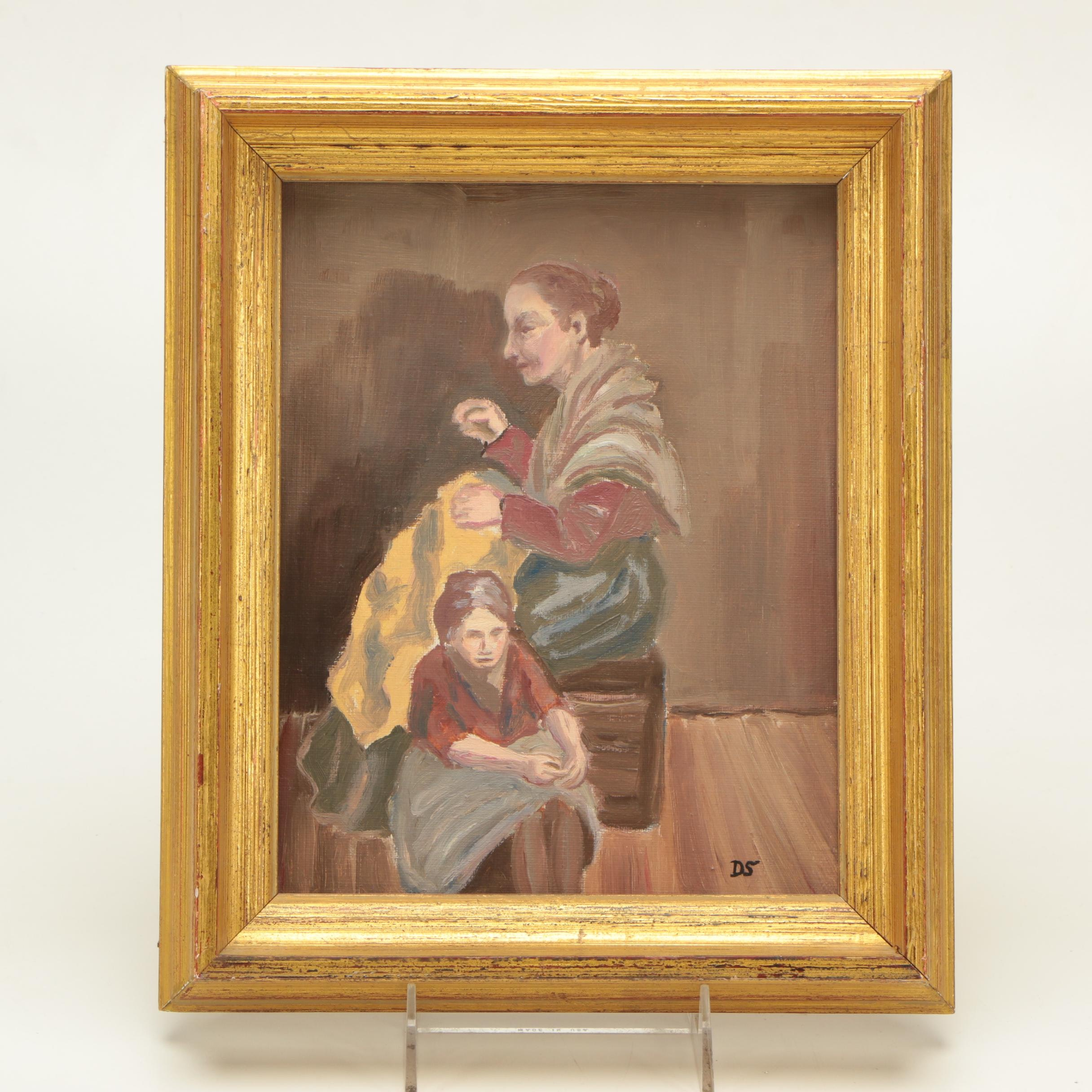 Oil on Canvas Painting of Two Women Sewing