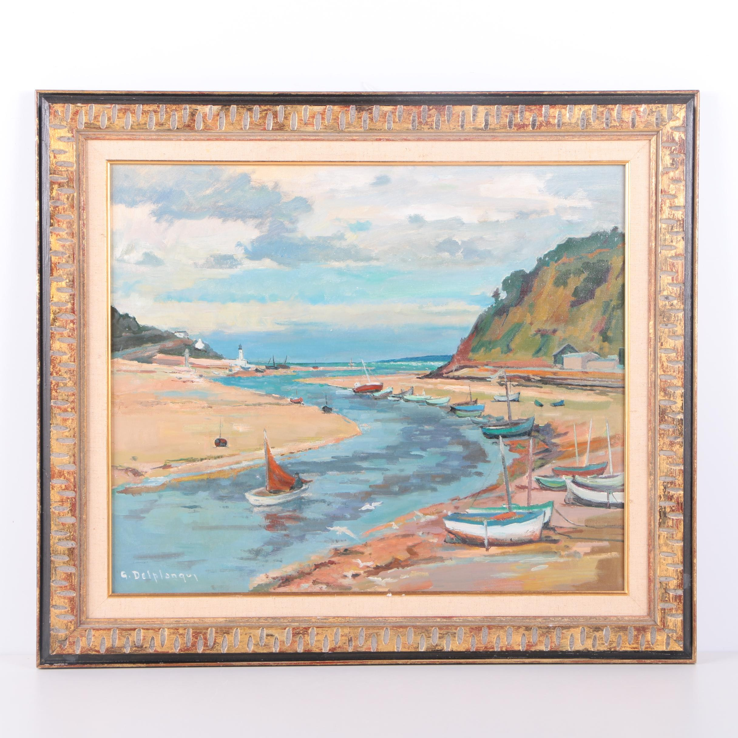 Georges Émile Delplanque Original Oil Coastal Scene on Canvas