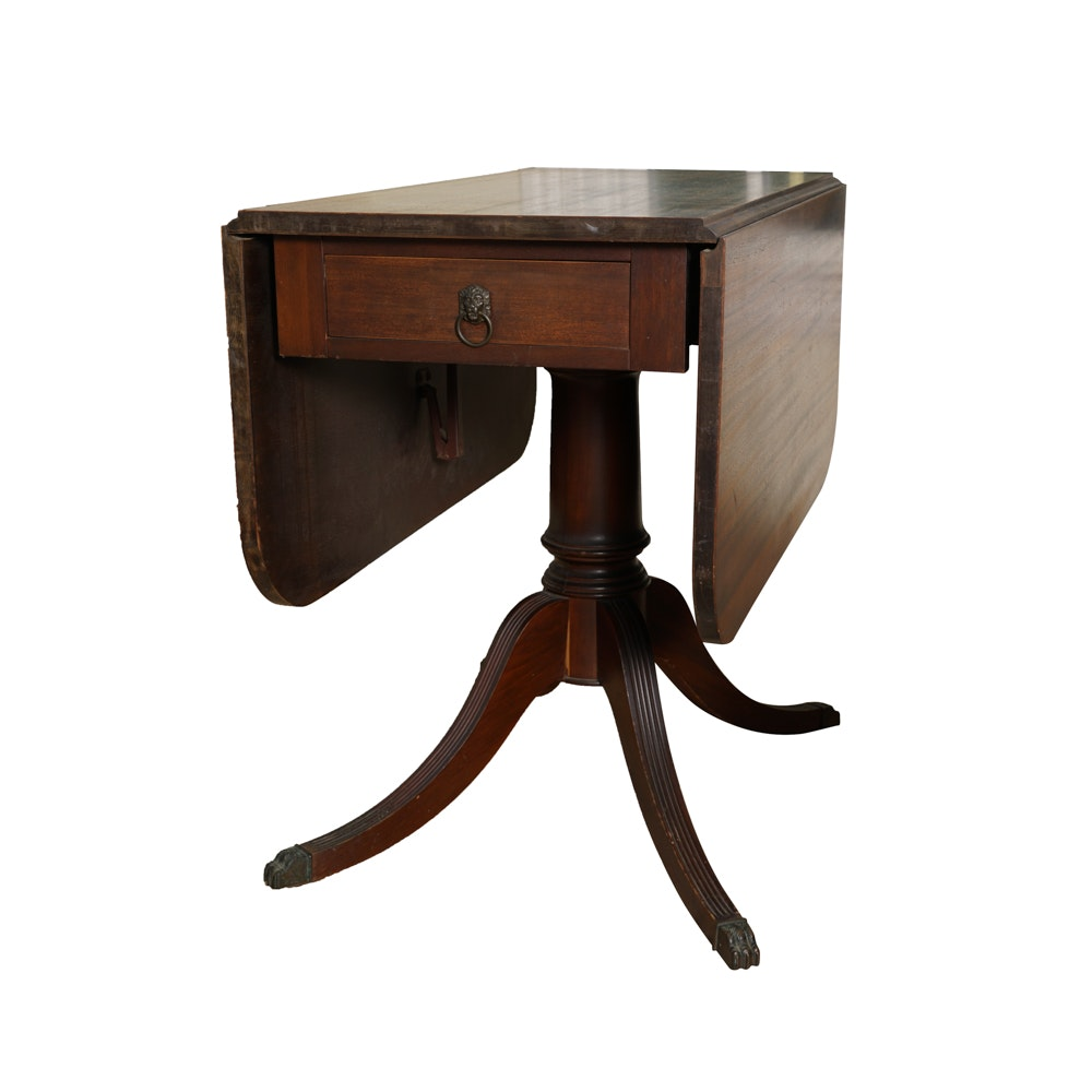 Vintage Duncan Phyfe Style Mahogany Drop-Leaf Table