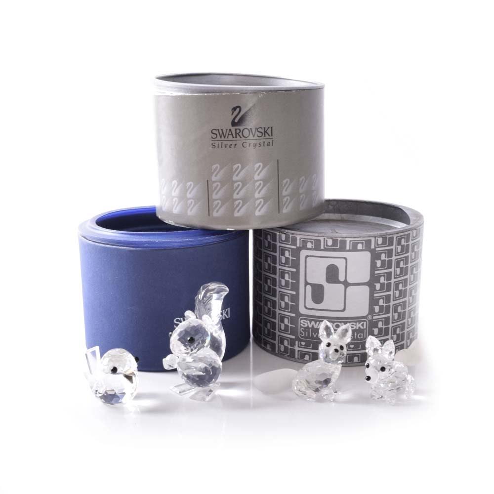 Swarovski Silver Crystal Miniature Forest Animal Figurines