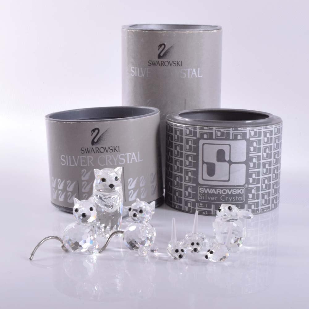 Swarovski Silver Crystal Miniature Cat and Mouse Figurine