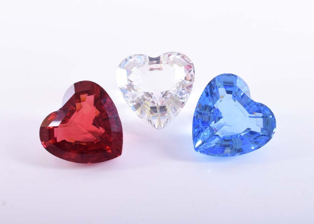 Swarovski Silver Crystal Hearts