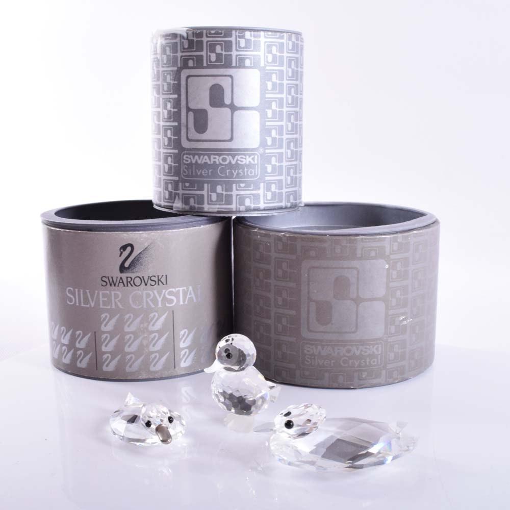 Swarovski Silver Crystal Miniature Ducks