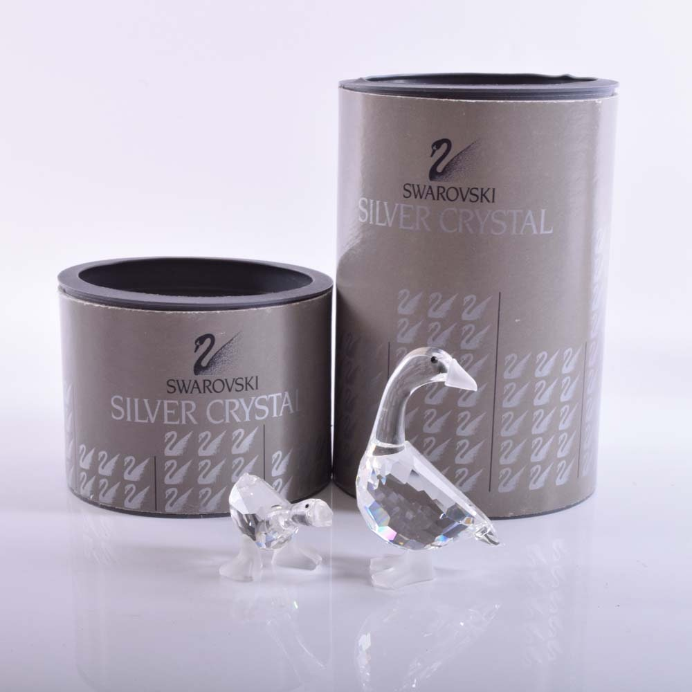"Swarovski Silver Crystal ""Harry and Dick Gosling"" Figurines"