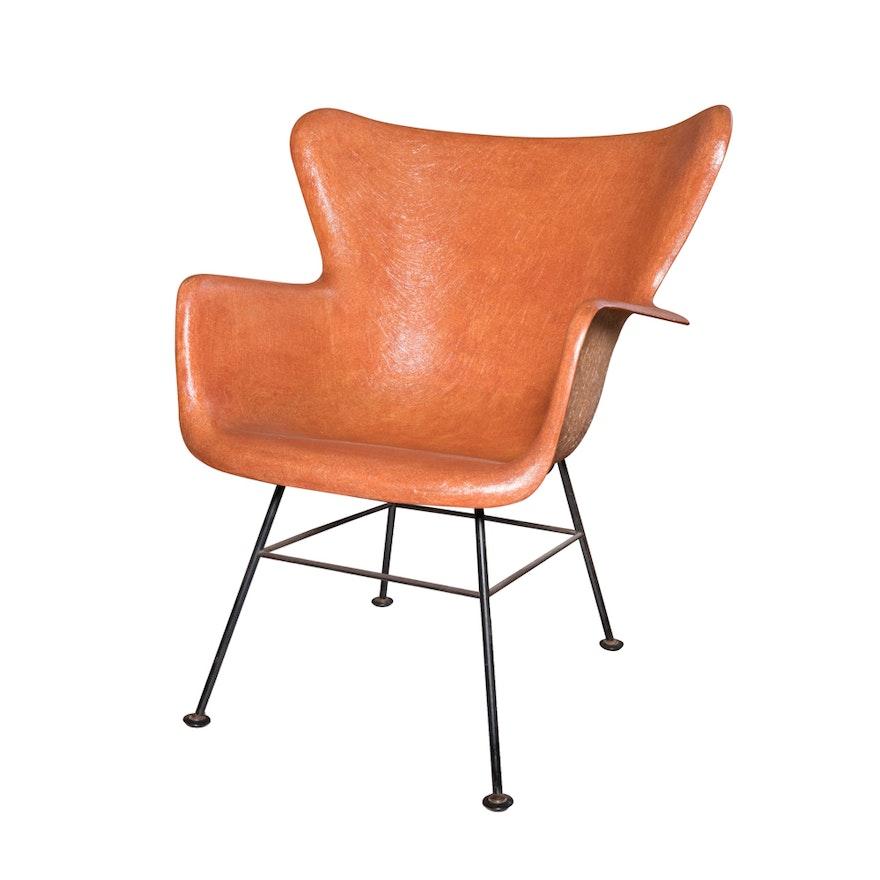 mid century modern fiberglass shell chair by lawrence peabody ebth
