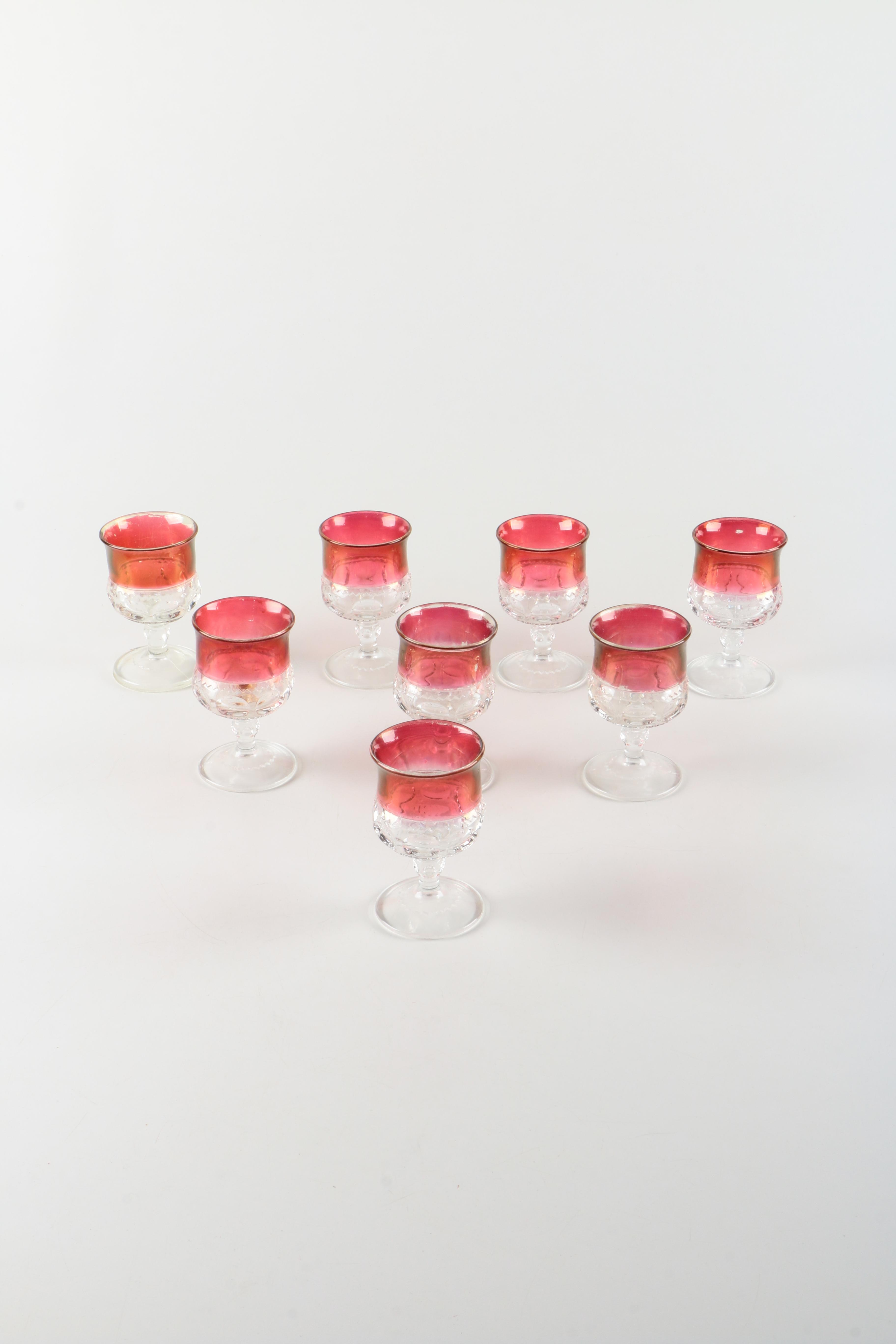 Vintage King's Crown Ruby Flashed Glass Cordials