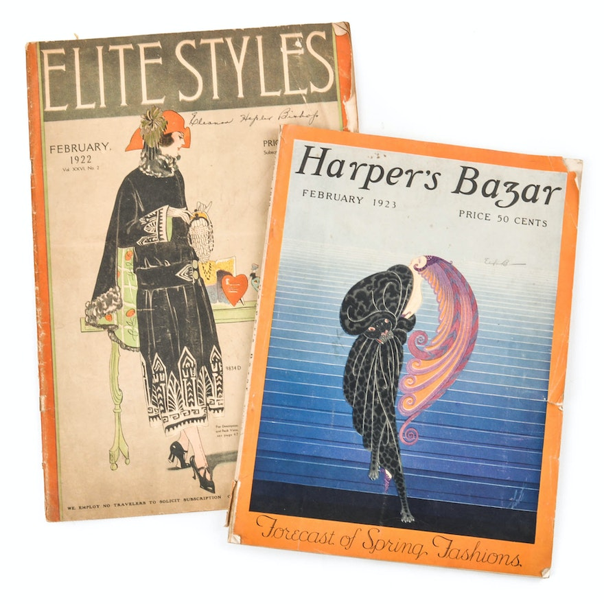Early 1900s Ephemera Including 1923 Harpers Bazar With