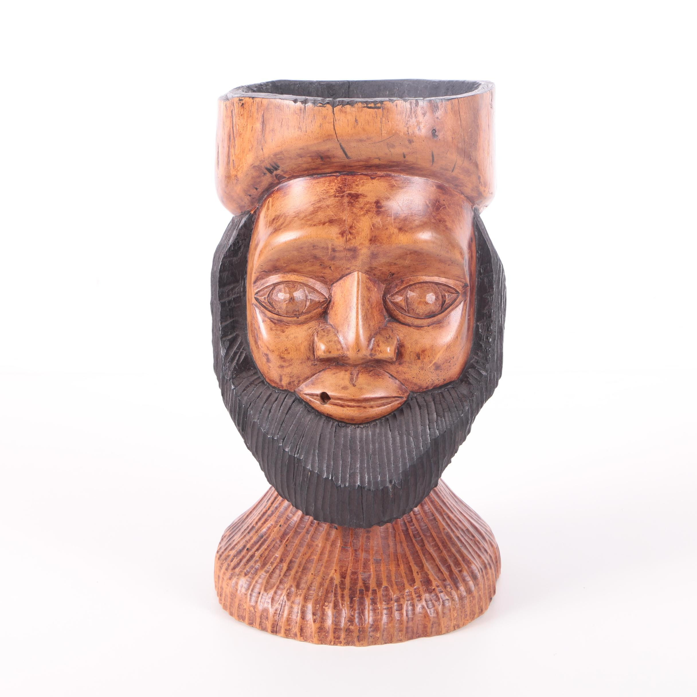 Jamaica Style Hand-Carved Goblet of Dual-Faces