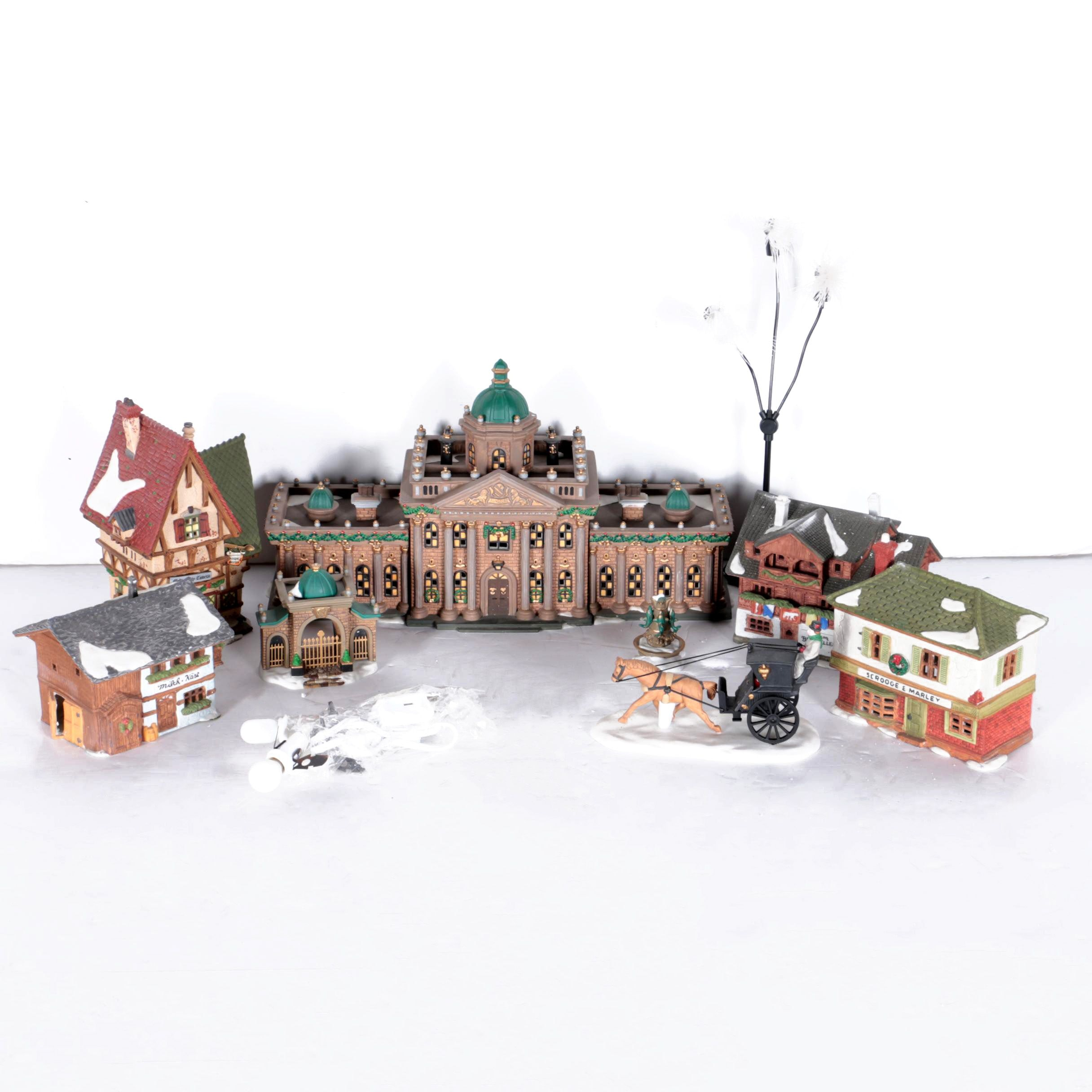 Dept. 56 Christmas Village Buildings and Accessories Including Ramsford Palace