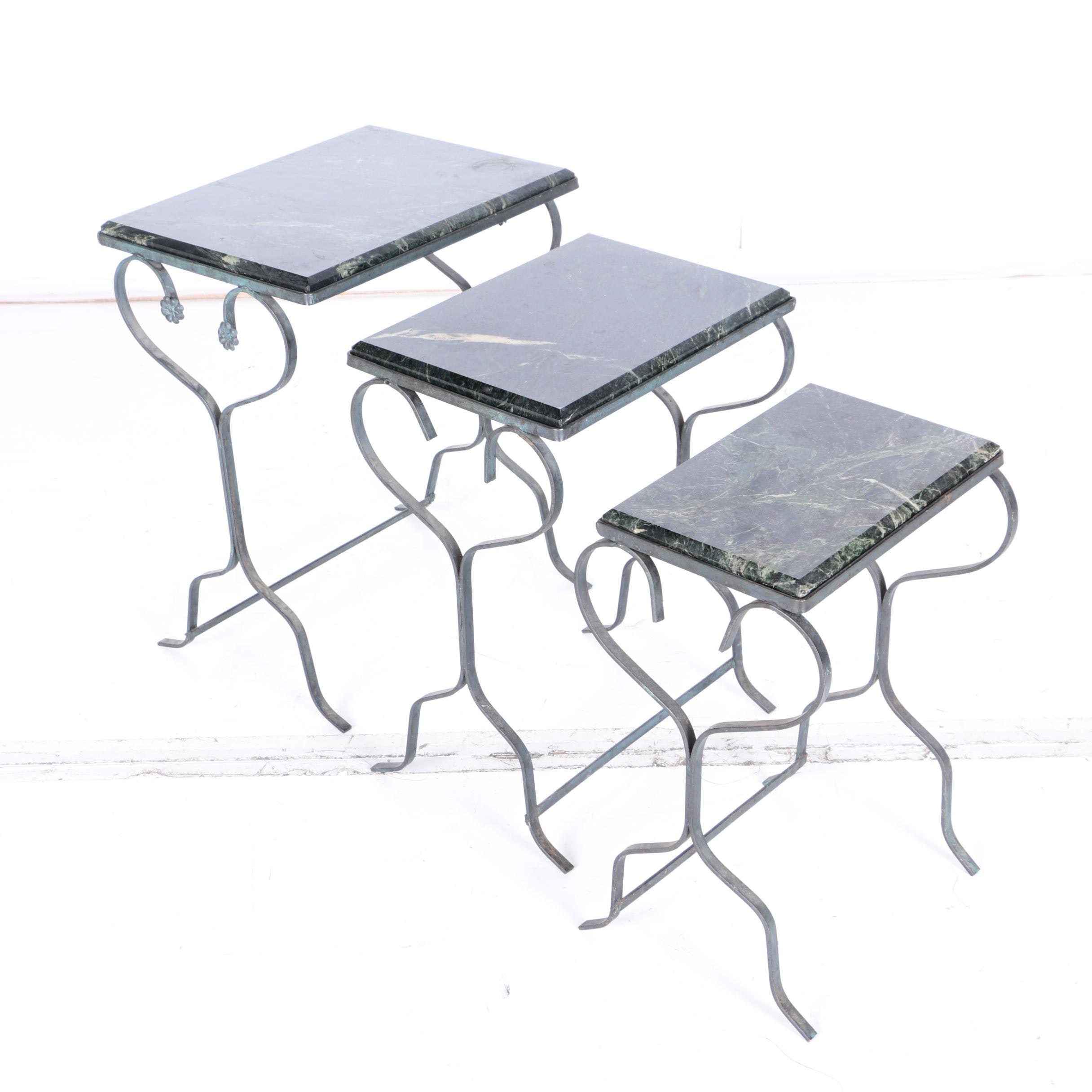 Vintage Marble Top Nesting Tables