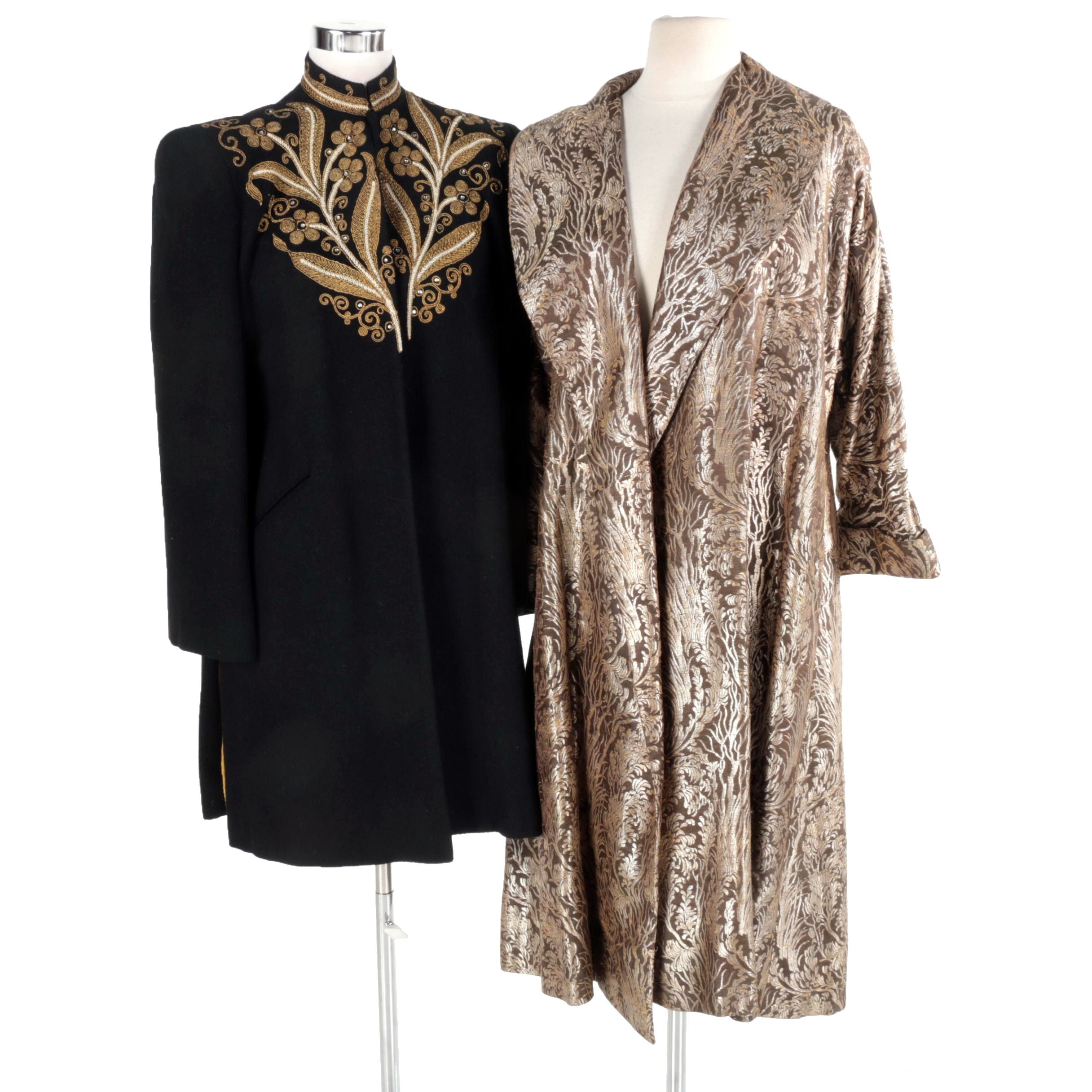 Women's Vintage Embroidered and Damask Coats