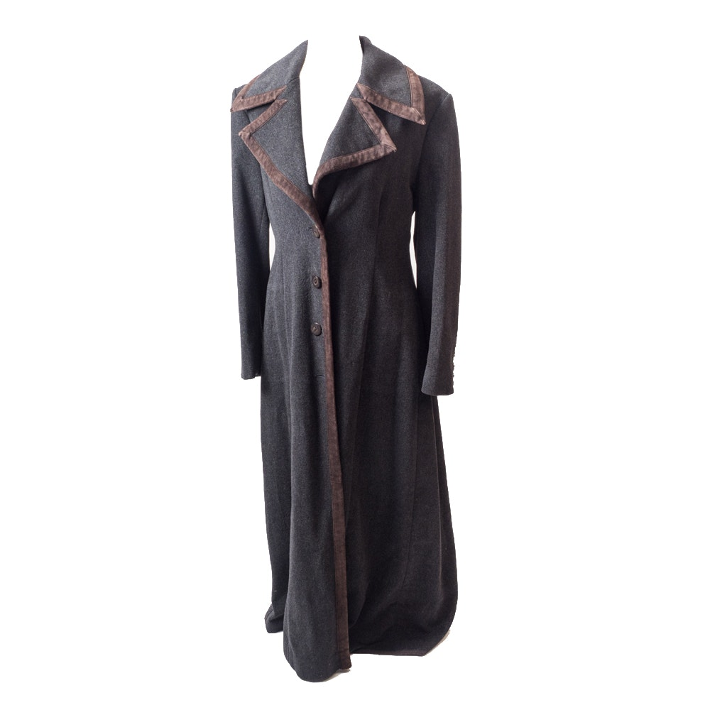 Prada Vintage Wool Coat with Brown Suede Trim