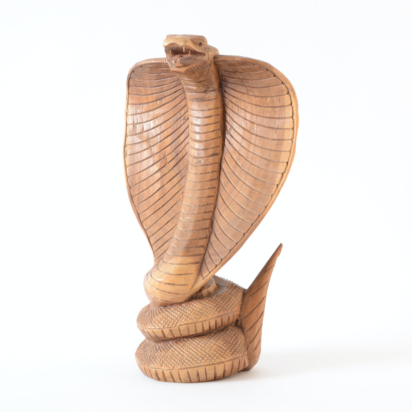 Carved Wood Sculpture of a Hooded Cobra