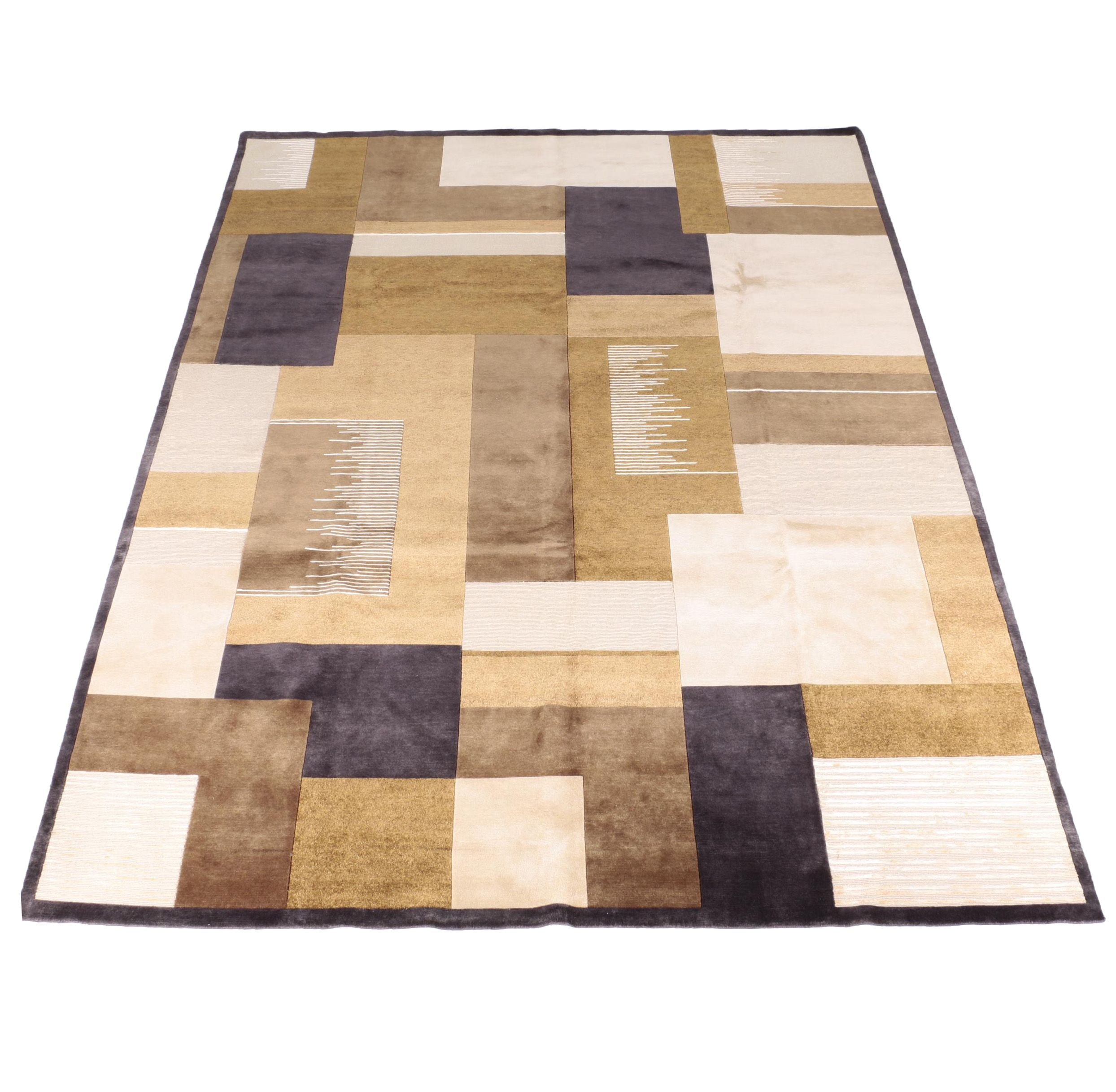 """Power Loomed Indian """"Mirage Charcoal"""" Area Rug"""