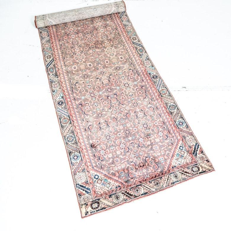Vintage Hand Knotted Hamadan Saruq Carpet Runner