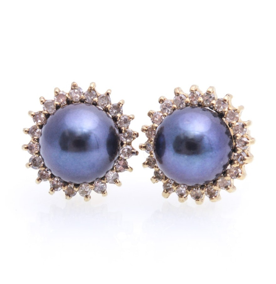 14k Yellow Gold Diamond Peacock Pearl Earrings