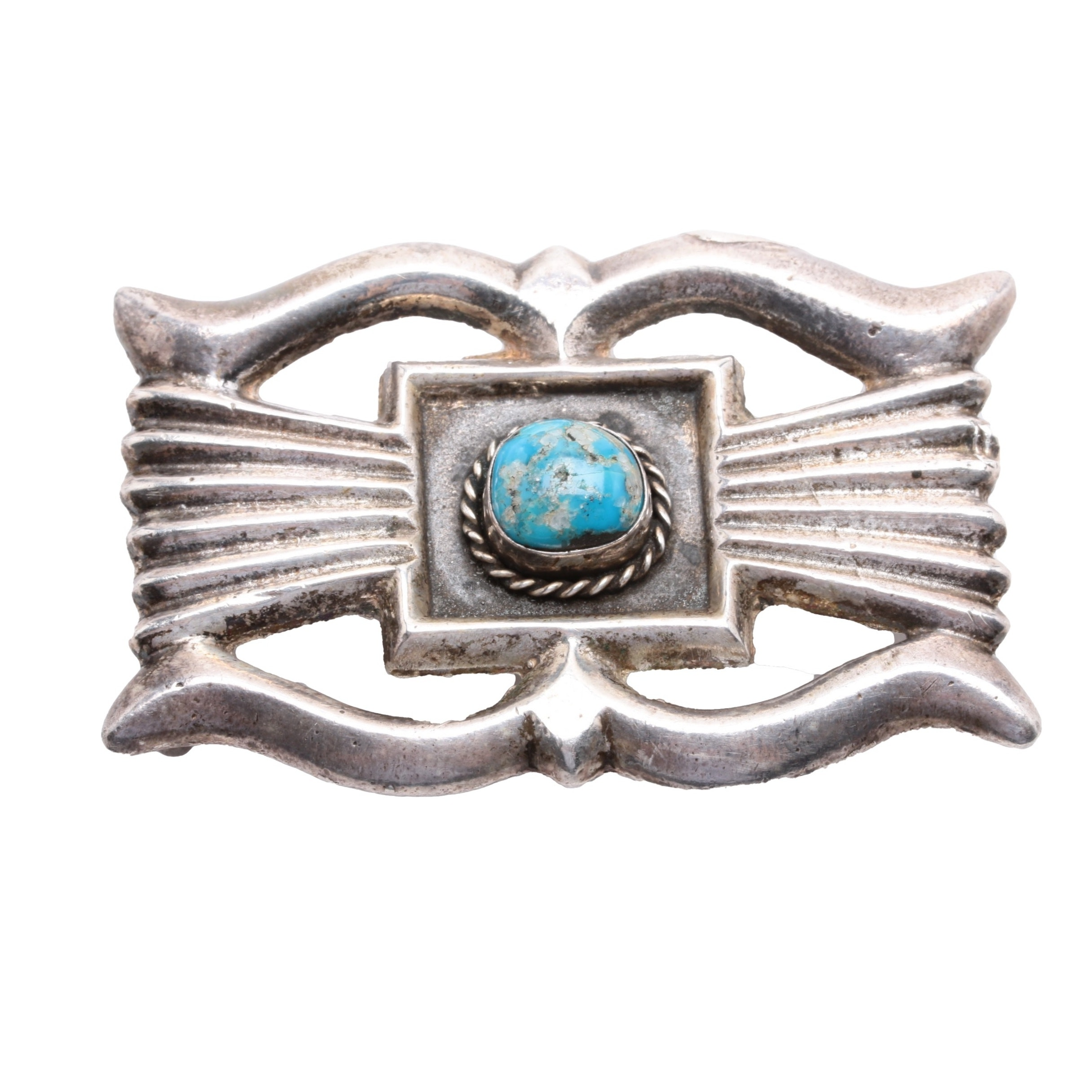 Vintage Sand Cast Navajo Sterling Silver and Turquoise Buckle