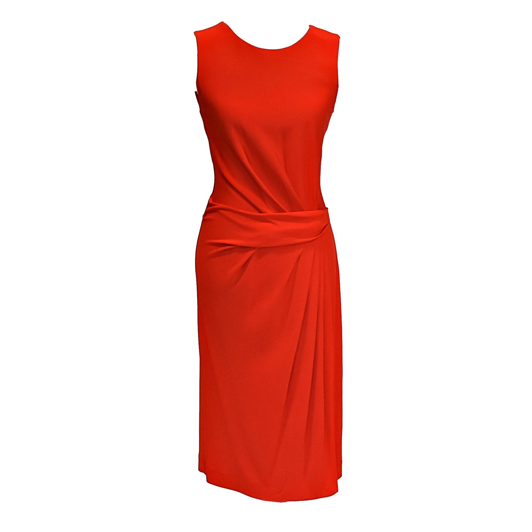 Red Sleeveless Ferragamo Dress with Draped Waist