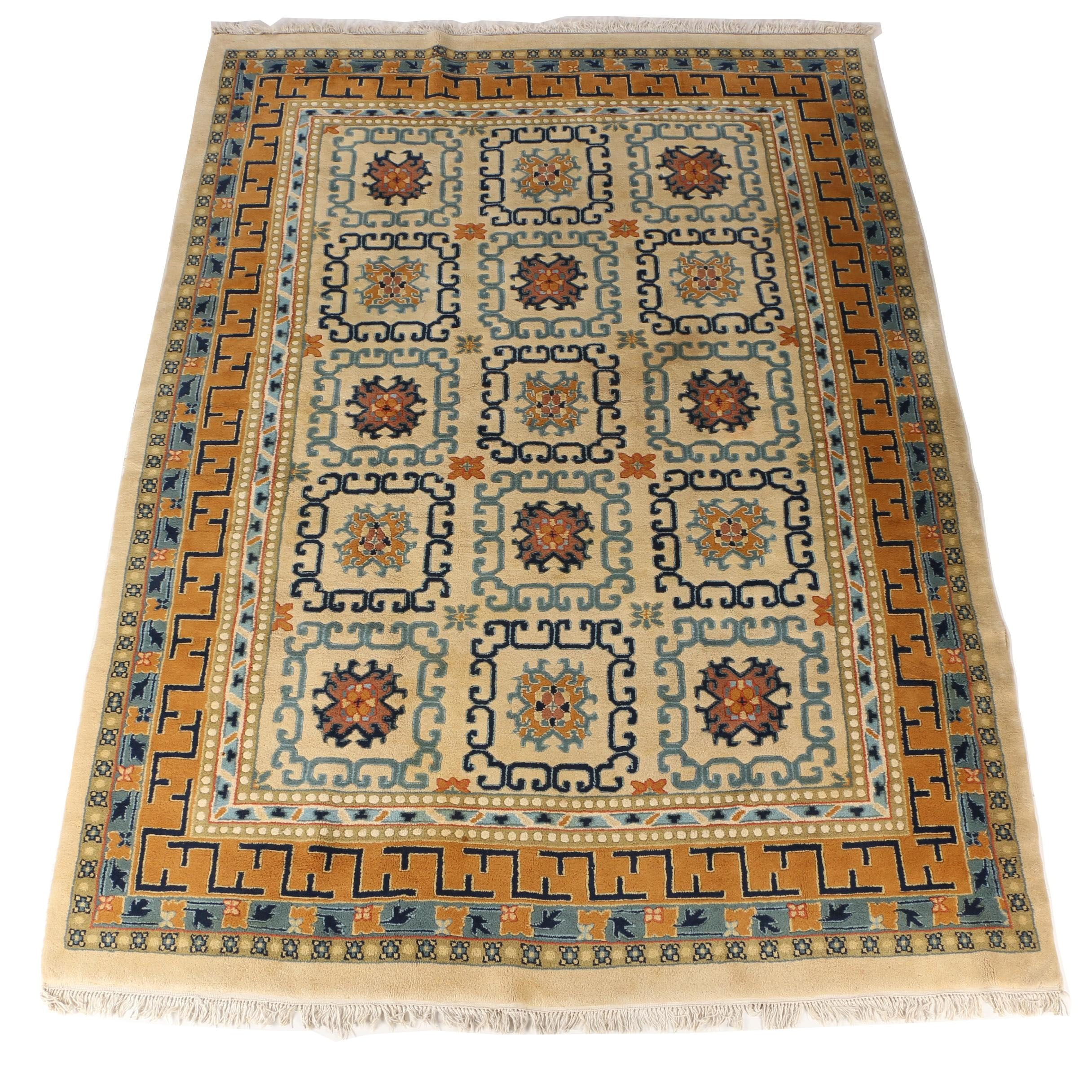 Hand-Knotted Indian Chinese-Style Wool Area Rug